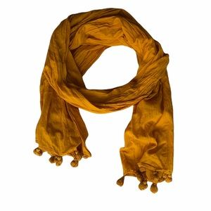 J Crew Yellow Cotton Scarf With Tassels